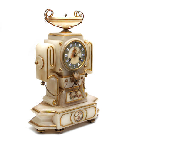 A 20th century white onyx mantel clock