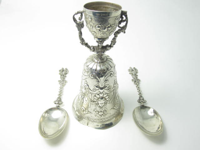 A silver wager cup  Continental marks worn, with import marks John George Piddington, London 1901  (3)