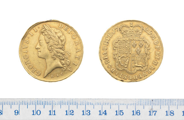 George II (1727-60), Five Guineas, 1729, young laureate head left, E.I.C. (East India Company) below,