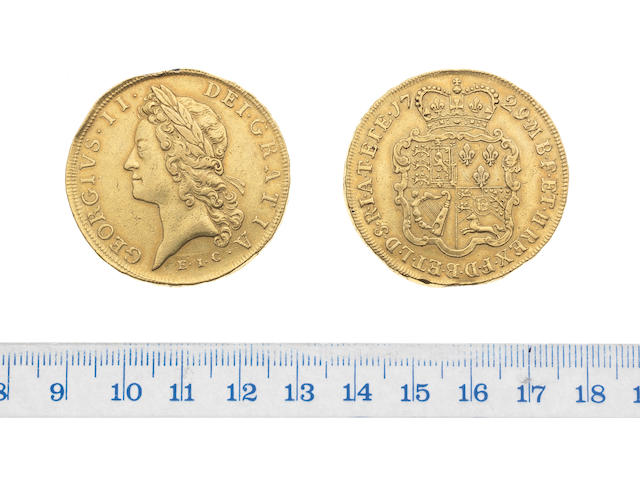 George II, Five Guineas, 1729, young laureate head left, E.I.C. (East India Company) below,