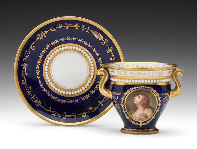 A fine Flight, Barr and Barr cabinet cup and stand by Thomas Baxter, circa 1814-16