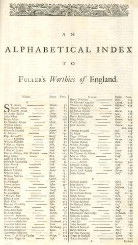 FULLER (THOMAS) The History of The Worthies of England, 1662