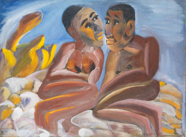 Gladys Mgudlandlu (South African, 1917-1979) 'The newly weds'