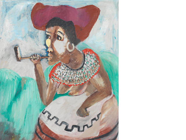 Gladys Mgudlandlu (South African, 1917-1979) African woman smoking a pipe