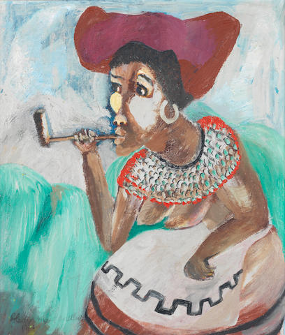 Gladys Mgudlandlu (South African, 1917-1979) African woman smoking a pipe