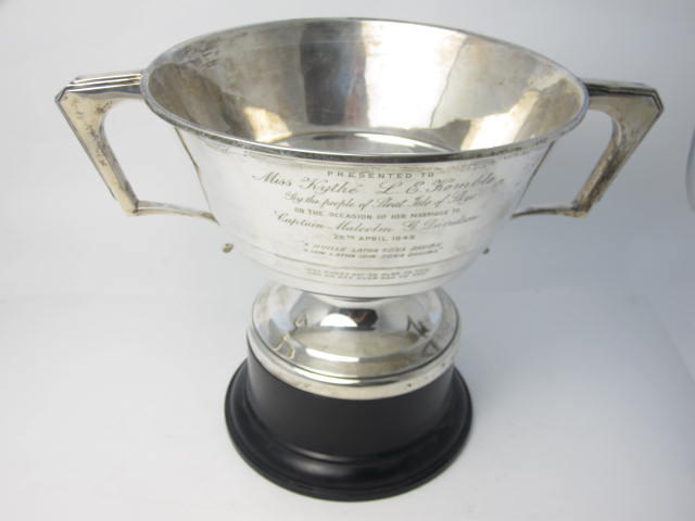 A twin handled silver presentation cup by Brook & Son, Sheffield 1934