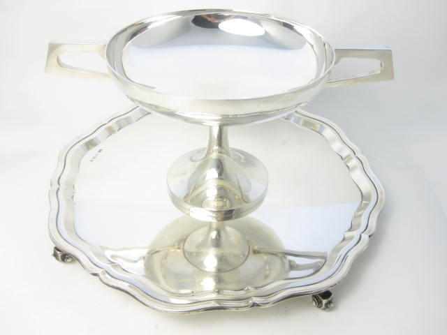 A silver salver  by Edward Viners, Sheffield 1945