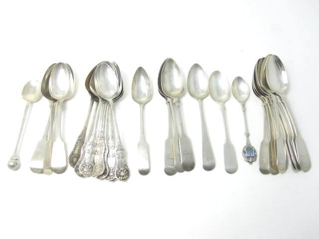 A collection of Scottish teaspoons Various makers and dates  (Qty)