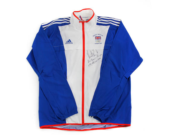 A GB team 2004 Olympics tracksuit top hand signed by Matthew Pinsent