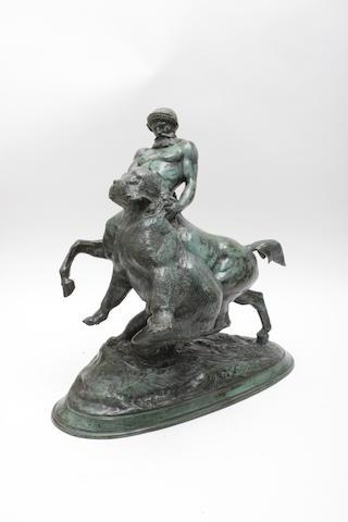 After Emmanuel Fremiet A bronze group of a centaur wrestling a bear