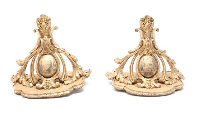 A pair of 19th century giltwood wall brackets