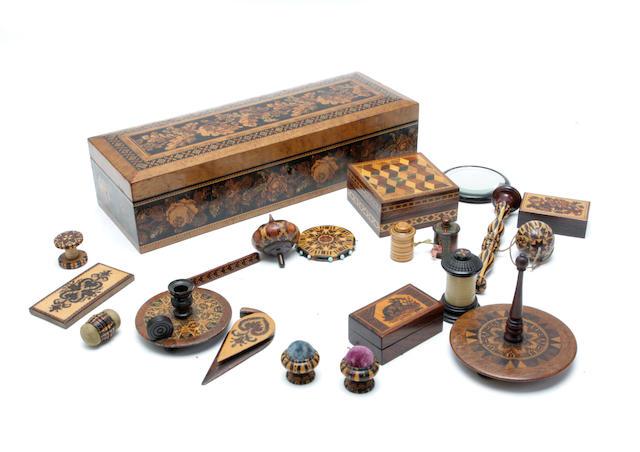 A Victorian burr walnut Tunbridgeware glove box