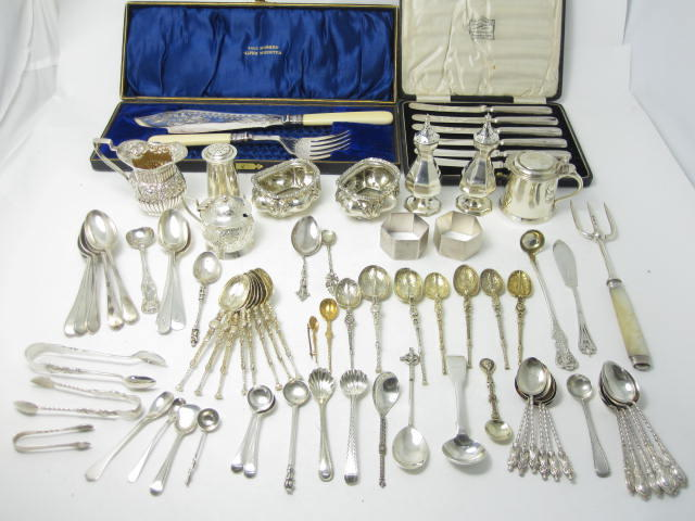 A small collection of silver tableware various makers and dates