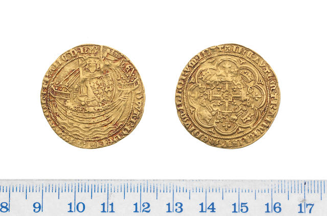 Edward III, fourth coinage (1351-77), pre-treaty period (1351-61), Noble, 7.6g, London, series C, king standing facing in ship holding sword and shield,