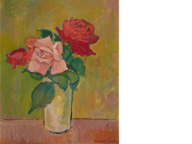 Herbert Coetzer (South African, 1921-2008) Still life of pink and red roses