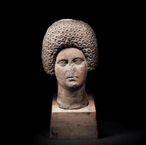 A Roman marble portrait head of a woman