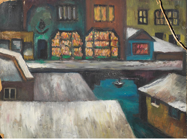 Nejad Devrim (Turkish, 1923-95) Shops on a canal