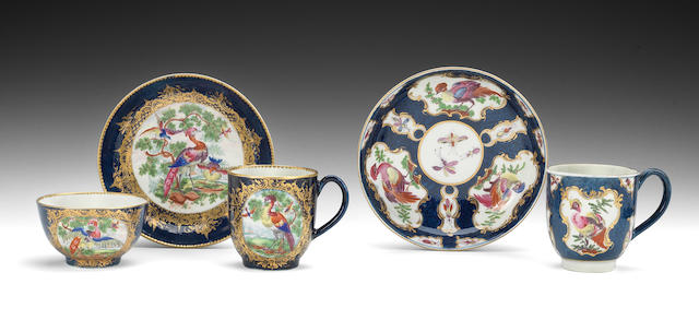 A Worcester Marchioness of Ely trio, another coffee cup and a saucer, circa 1770-75