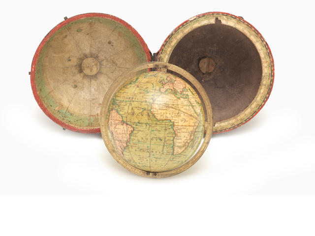 A Newton's 3-inch pocket globe,  English,  circa 1840,