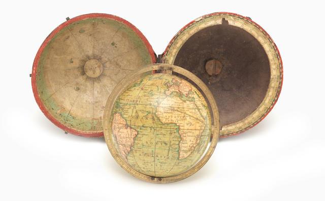 A Newton's 3-inch pocket globe,  English,  circa 1840,