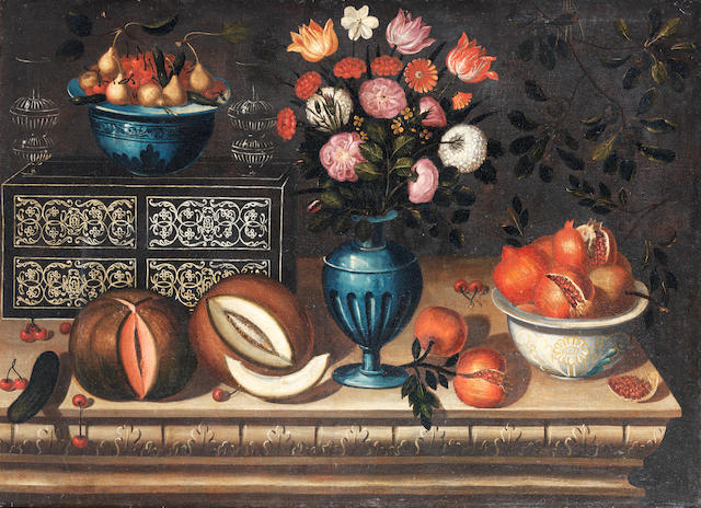Workshop of Bernardo Polo (active Zaragoza, circa 1650-circa 1675) A vase of flowers with a bowl of pomegranates and another of assorted fruit and two split melons, on a stone ledge