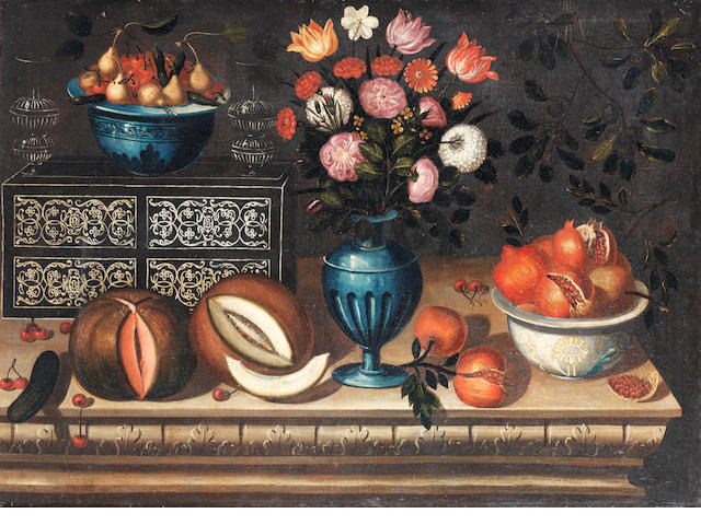 Workshop of Bernardo Polo (active Zaragoza, circa 1650-circa 1675) A vase of flowers with bowl