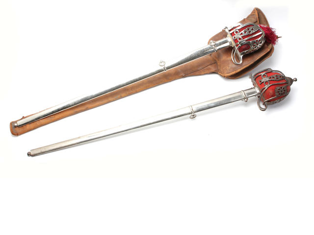 An 1828 pattern basket hilted Officer's broadsword