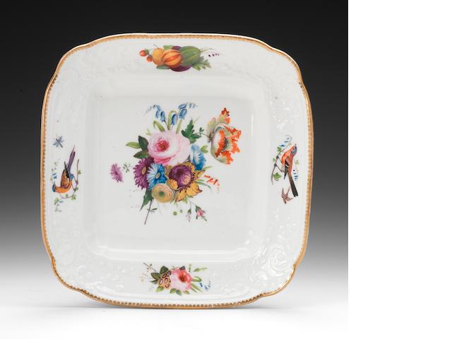 A rare Nantgarw square dish, circa 1818-20
