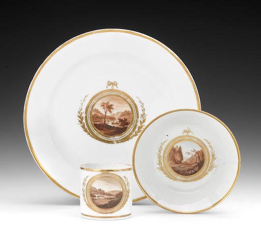 A Paris (La Courtille) saucer dish and a coffee can and saucer by William Billingsley, circa 1808