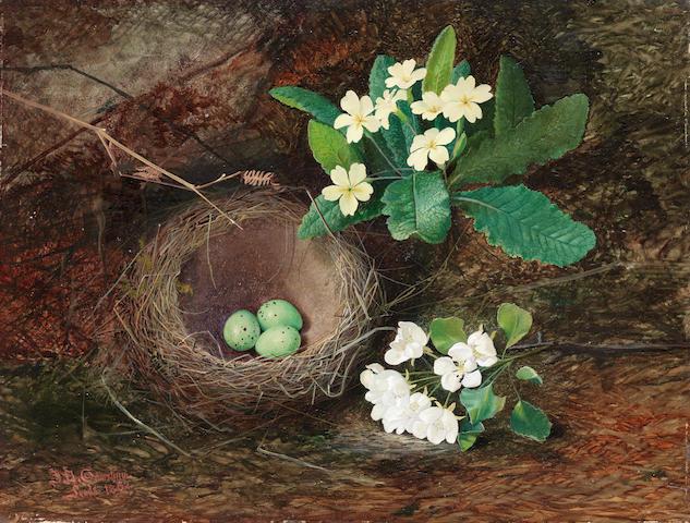John Atkinson Grimshaw (British, 1836-1893) Thrush's Nest, Primroses, Pear Blossom