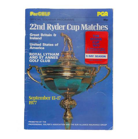 A 1977 Ryder Cup Souvenir programme
