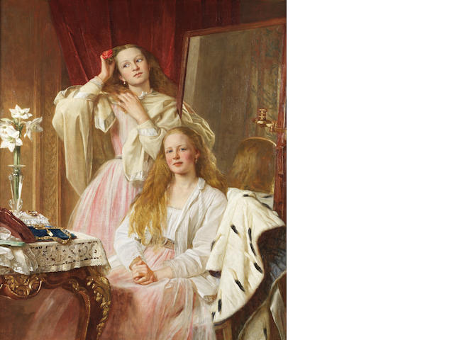 Henry Tanworth Wells, RA (British, 1828-1903) Portrait of Emma and Federica Bankes of Soughton Hall at their dressing table