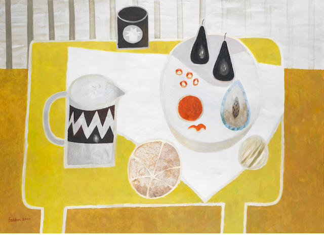 Mary Fedden R.A. (British, 1915-2012) Yellow Still Life 122.2 x 167.6 cm. (48 1/8 x 66 in.)