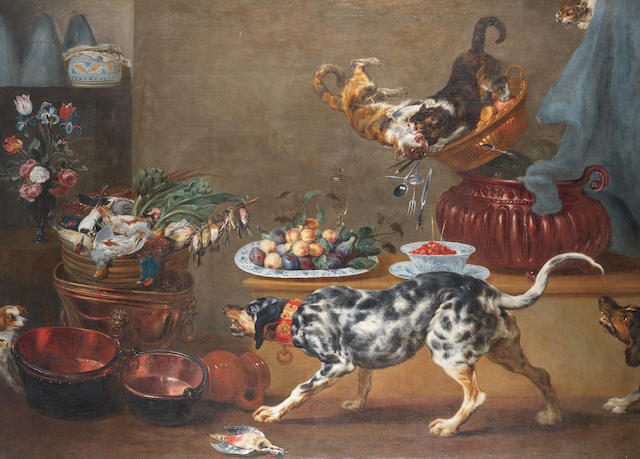 Paul de Vos (Hulst 1596-1678 Antwerp) Various flowers in vases, figs and strawberries