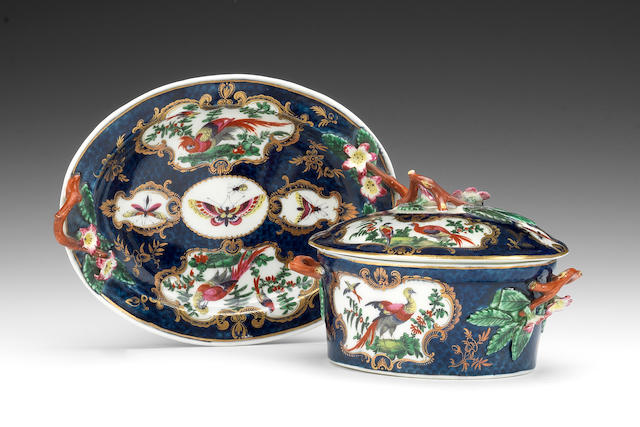 A Worcester basket and a butter tub, cover and stand, circa 1768-70