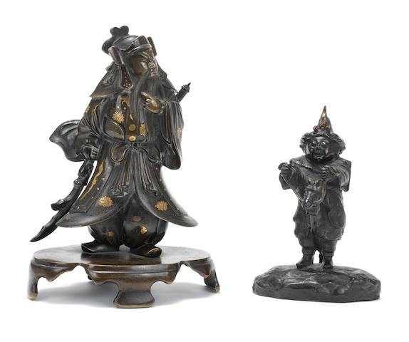 Two bronze figures Meiji Period