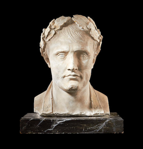 A 19th century plaster bust of Napoleon