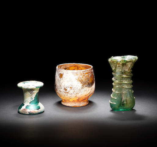 Three Roman glass vessels  3