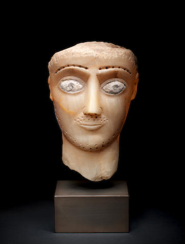 A South Arabian alabaster head of a man