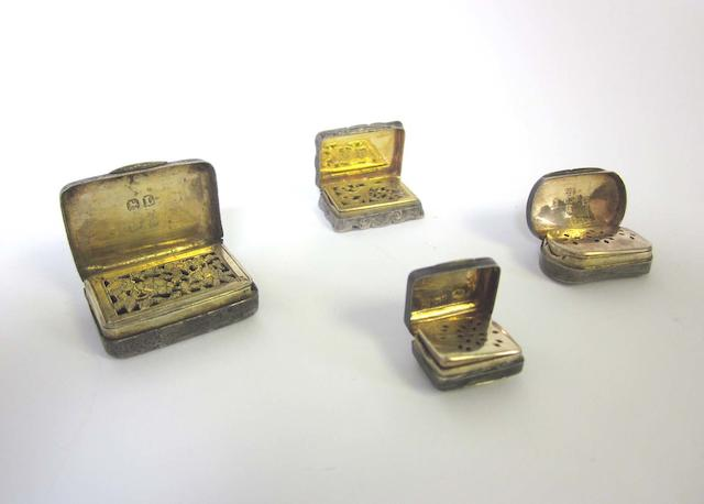 Seven Georgian/Victorian silver vinaigrette's various dates and makers,  (11)