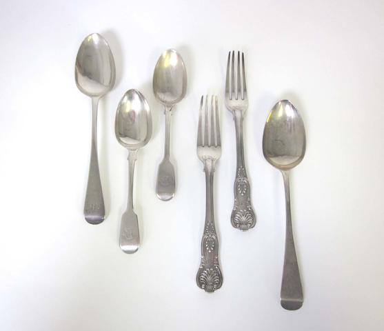 A quantity of silver flatware varying dates and maker's