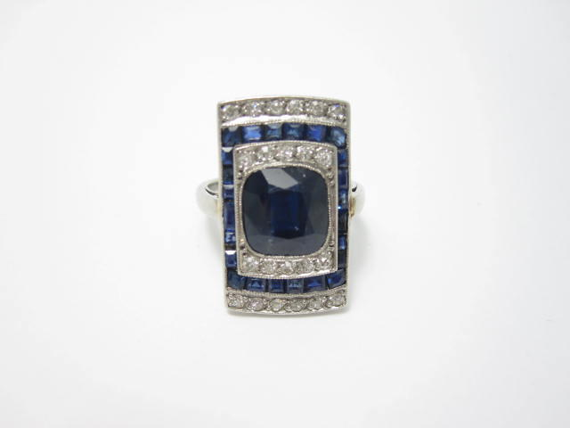 An Art Deco sapphire and diamond plaque ring, French