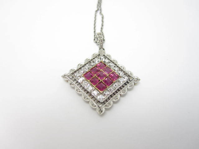 An Art Deco ruby and diamond pendant