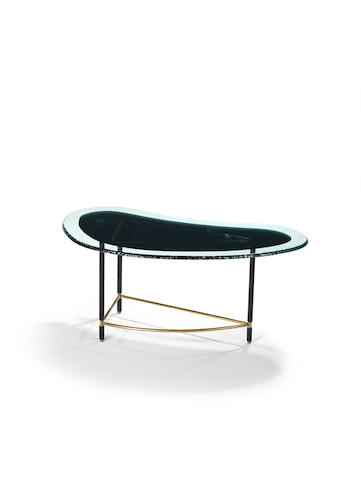 Fontana Arte Coffee Table circa 1960  brass, enamelled metal and glass  Height 50 cm.               19 11/16 in.