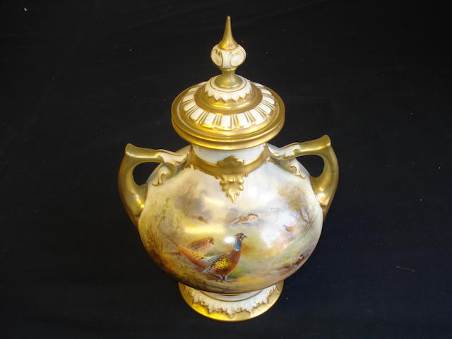 Royal Worcester lidded vase painted by James Stinton, dated 1925,