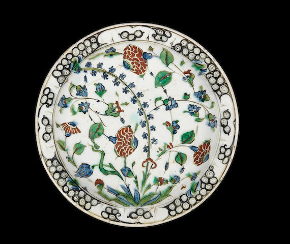 A large Iznik Dish Turkey, circa 1580