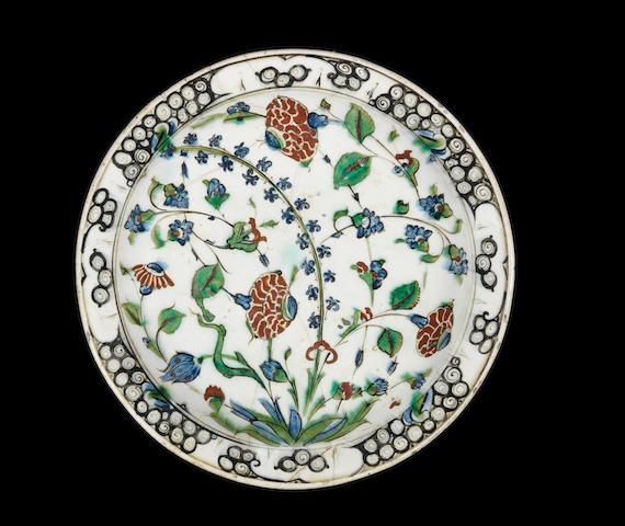 A large Iznik Dish Turkey, circa 1580
