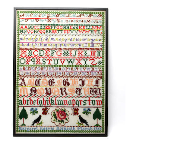 A Victorian stitched sampler, by Margaret Reavie, Rosneath, March 1866,