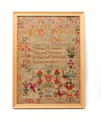A stitched sampler by Elizabeth Lunan, 1831