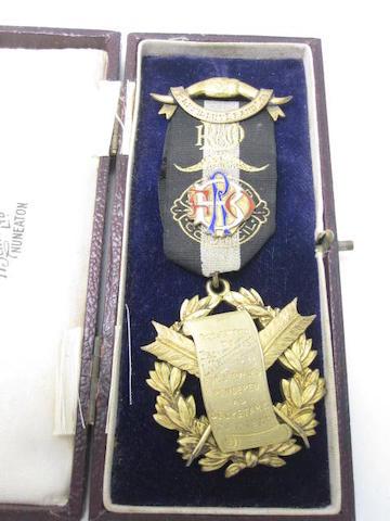 A silver gilt Masonic medal Birmingham 1929